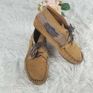 Minnetonka Womens El Paso Ankle Boots Brown Lace U